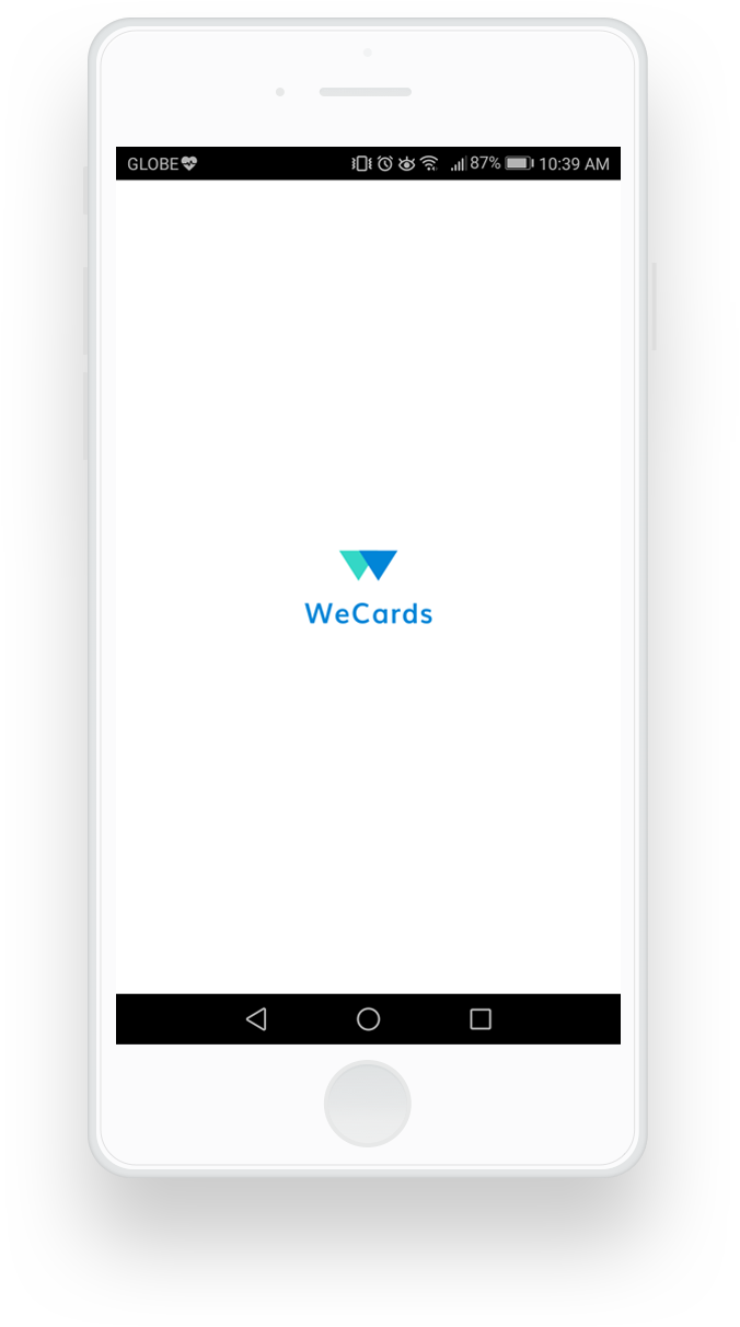wecards mobile application loading screen
